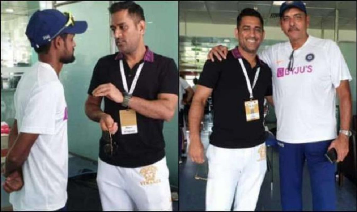 Dhoni met the team India after Ranchi Test,  BCCI shared the photo