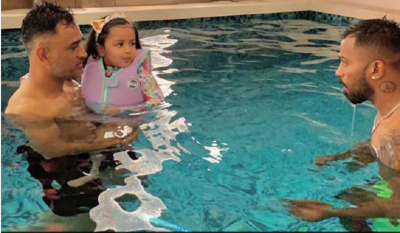 'Baby Shark' Is Having The Best Pool Party With Her Daddy MS Dhoni And Hardik Pandya