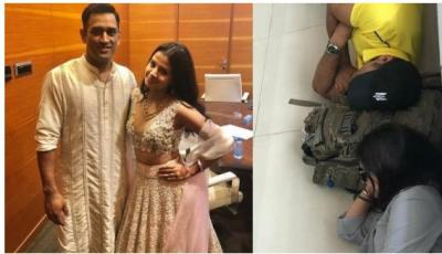 In airport MS Dhoni and Sakshi Dhoni Sleep on the floor, must-read caption…pics inside