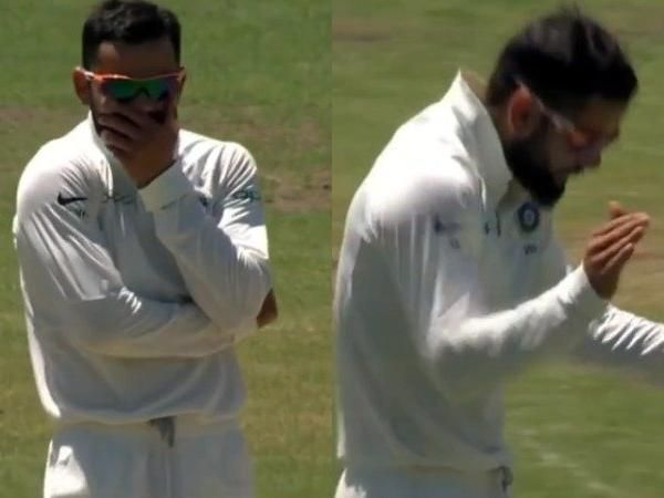 See Photo : Virat Kohli celebrates the moment of a rare wicket taking during a practice match
