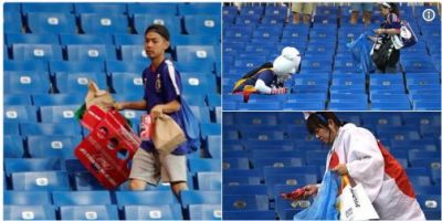 FIFA WC 2018: Japanese fans win heart from their clean up move