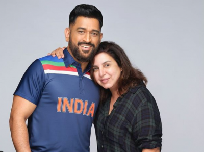 IPL 2021: MS Dhoni Shoots Ad With Farah Khan, Photos Viral