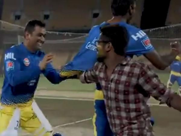 MS Dhoni once again, chased by a fan during the practice match, watch video here