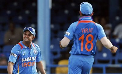 Birthday boy Suresh Raina congrats Virat Kohli on his 5th Double ton.