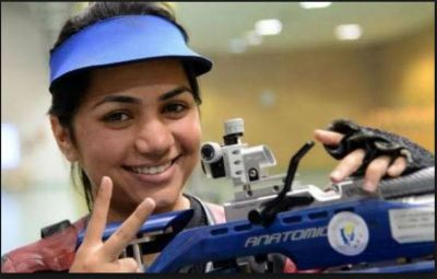 At ISSF World Cup Indian shooter Apurvi Chandela clinching a gold medal