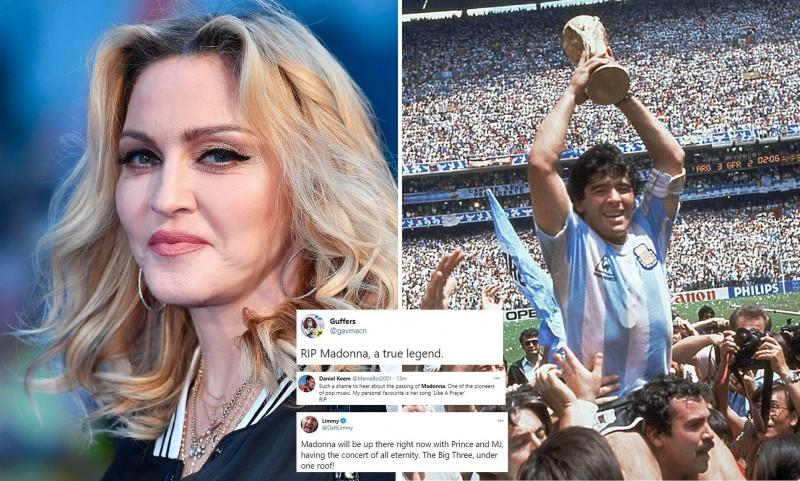 प्रशंसकों ने भ्रमित होकर दिग्गज फुटबॉलर माराडोना की मौत के लिए मैडोना को दी श्रद्धांजलि