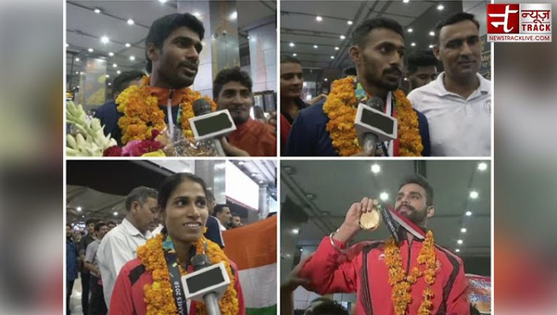 The grand welcome of Indian athlete: Jinson Johnson, Arpinder Singh and others return from Asian Games