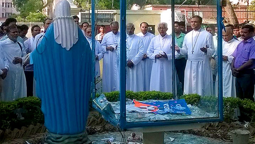 आगरा में चर्च पर अज्ञात लोगों ने किया हमला