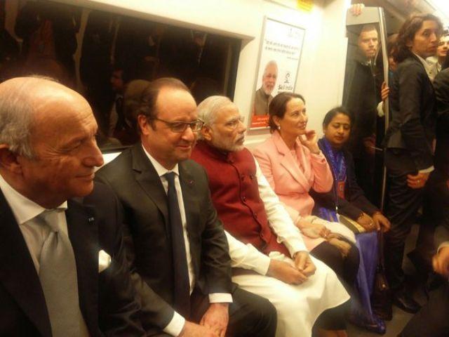 मोदी ने फ्रांसीसी राष्ट्रपति ओलांद को कराई मेट्रो की सवारी