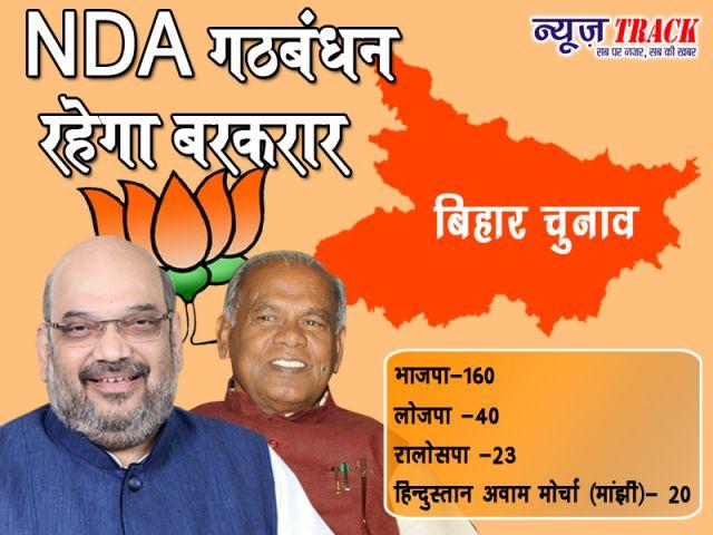 बिहार चुनाव : खत्म हुआ विवाद, NDA ने किया सीटों का एलान