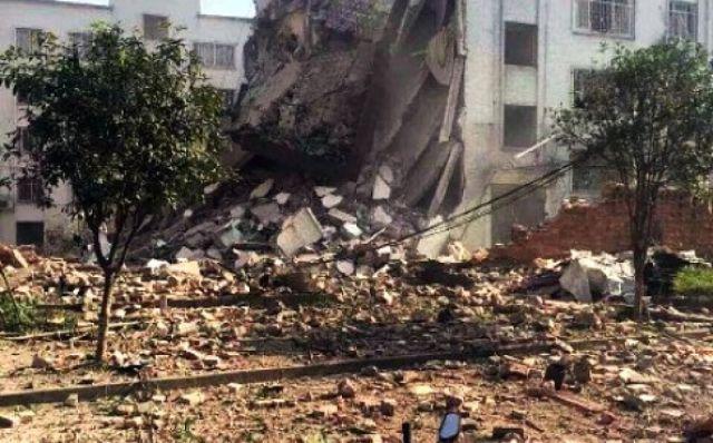चीन: जोरदार धमाके से तबाह हुई छह मंजिला इमारत