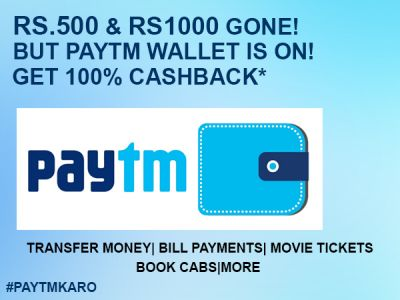 Send money using the Paytm account and get up to Rs.1,000 cashback