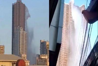 VIDEO : 53वीं मंजिल पर स्विमिंग पुल, आया भूकंप का झटका और...