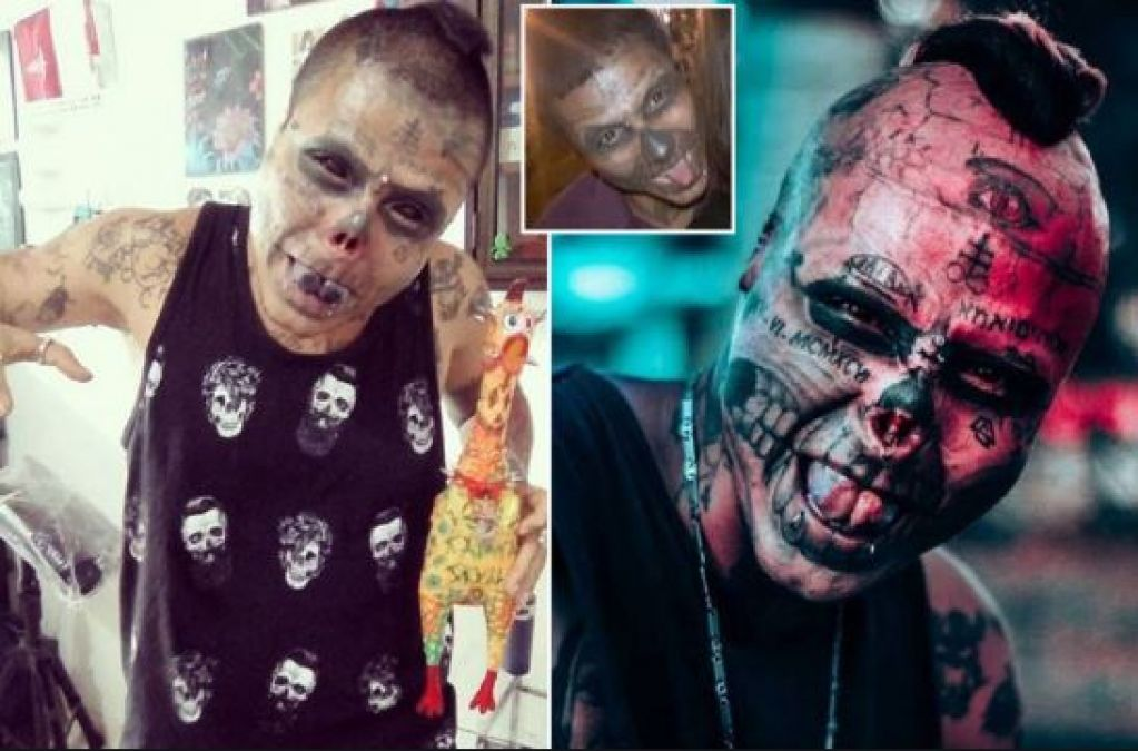 This man has a desire to look like a ghost, so did something like this!