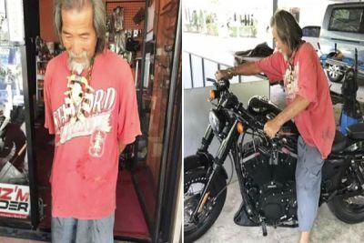भिखारी जैसे दिखने वाले शख्स ने खरीदी 12 लाख की बाइक