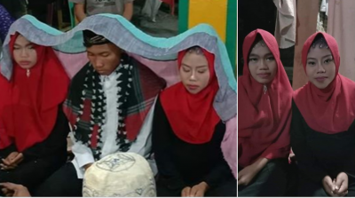 This man couldn't make any of his girlfriends angry, so he married both of them!