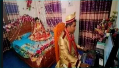Viral photo: Bride waiting, groom busy in work from home shift