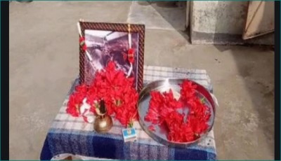 Young man performed buffalo's terva, villagers paid floral garlands on photo