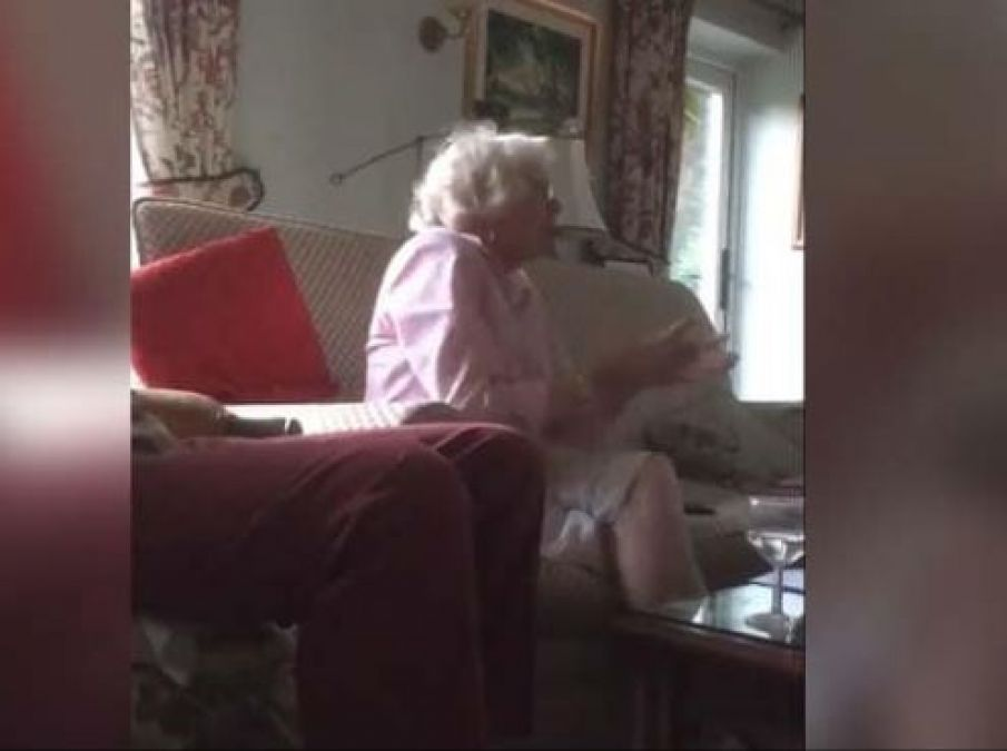 Grandma gets shocked at Englands victory, celebrated