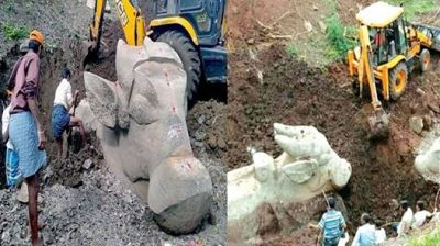 Statues of Lord Shiva's Nandi come out in lake excavation; pictures go viral!