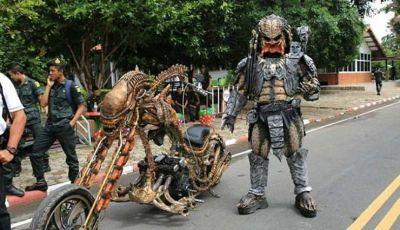 Real-Life Predator Cosplayer Captured Riding Around Thailand