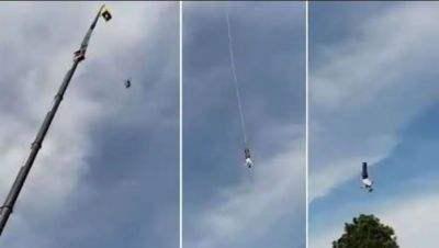 While doing Bungee jumping this man...