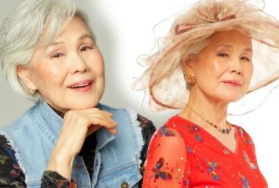 Elderly woman modelling at the age of 77 will come to know tears