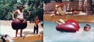 VIDEO: Man creates unique system to enjoy swimming