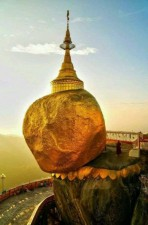 There is 'Golden Rock' in Myanmar, which has been stuck on shield for centuries