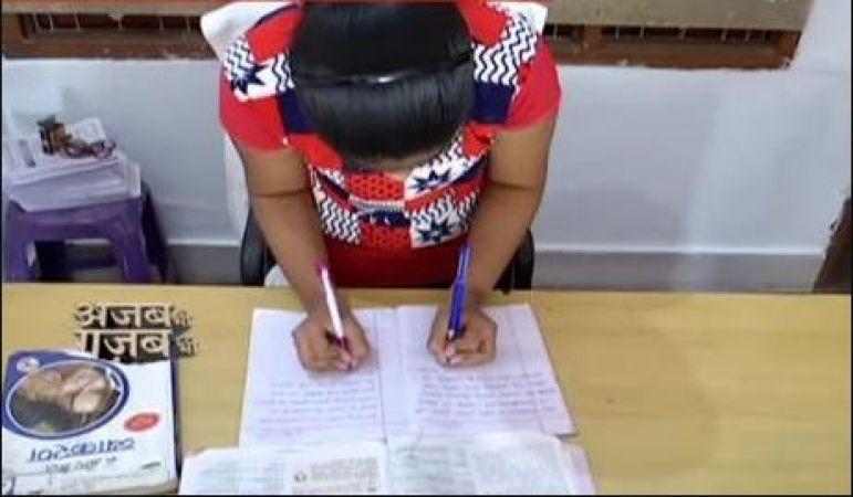 दोनों हाथों से अलग-अलग भाषा में लिखने में माहिर है तेजस्वी