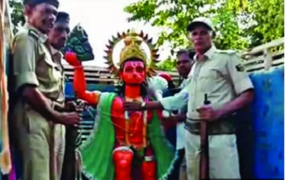Lord Hanuman was taken into custody so that the atmosphere of peace prevails!