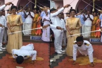 Here the couple was given a Salute with swords, the groom did this on the advice of friends!