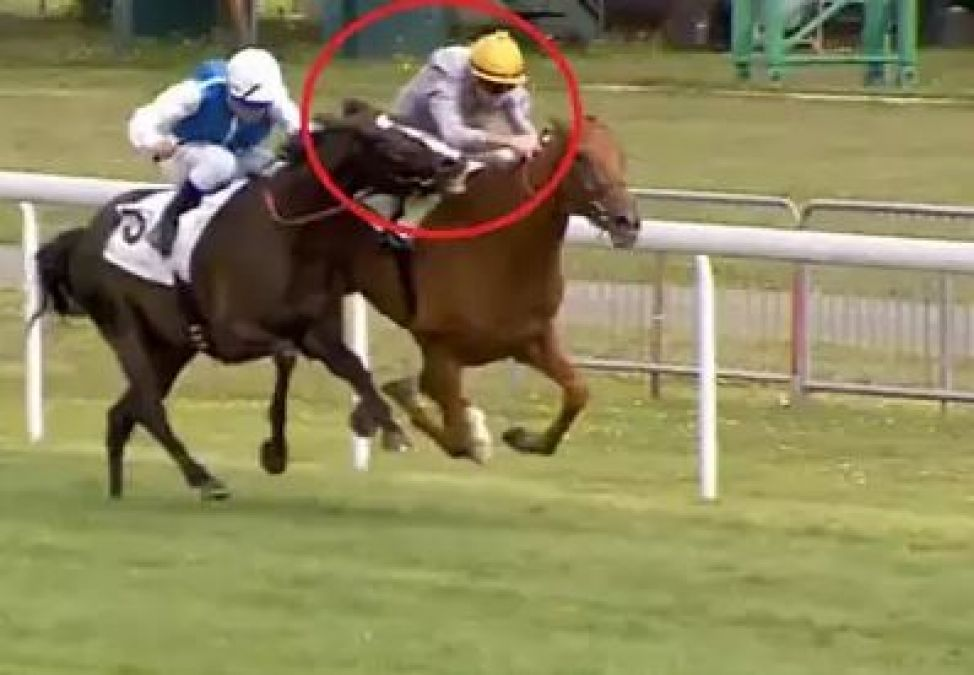 Viral Video: Horse bites rival jockey to win the race