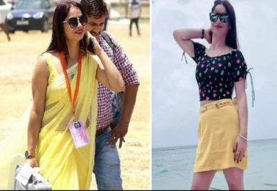 Polling officer in yellow saree wreaked havoc again, this time poses in a sexy skirt
