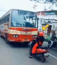 This woman did a stunt in front of the bus, watch video here