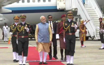 Pm Modi's grand welcome in Bhutan, receives Gaurd of  Honour