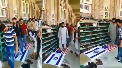 Pakistani citizens enter mosque by walking over the US and Israeli flag, video goes viral