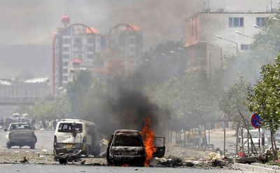 Suicide bomber explosives into the security barrier, 8 soldiers died