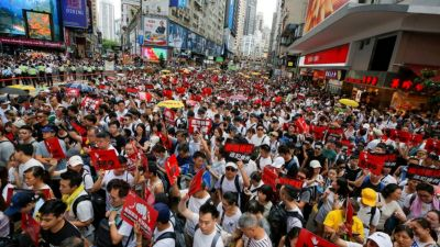 China made a law which is being protested in Hong Kong
