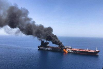 Sudden explosion in Norwegian oil tanker ship Front Altair in Gulf of Oman