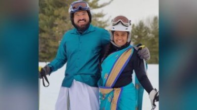 Couple went skiing in saree and dhoti, video went viral